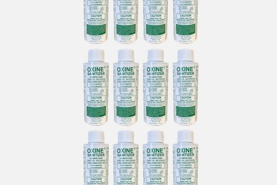 1 CASE (12 BOTTLES) OF OXINE SANITIZER (MAKES 12 GALLONS)