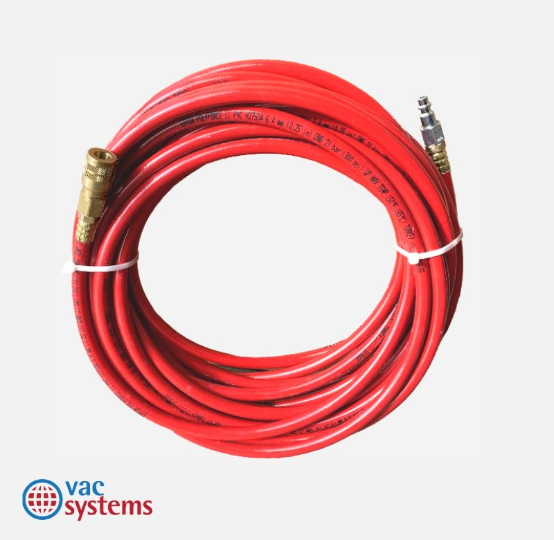 50 FT X ¼ IN RED AIR HOSE WITH QUICK COUPLERS (MW)