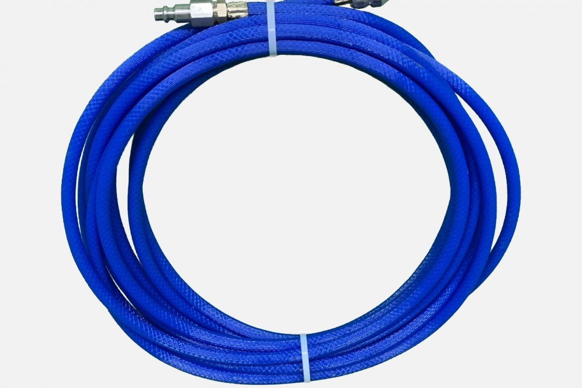 30 FT BLUE HOSE WITH REVERSE SPINNING SKIPPER NOZZLE